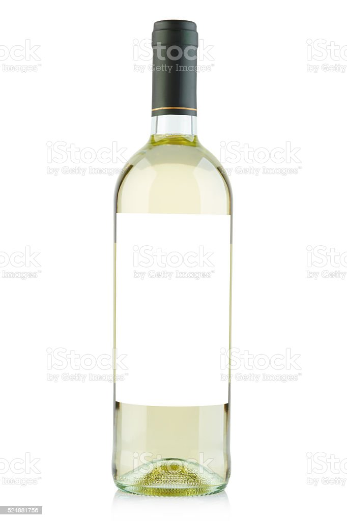 White Wine Bottle With Blank Label On White stock photo ...