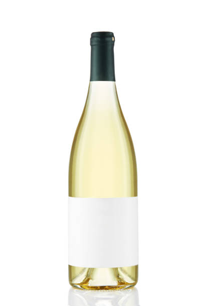 White wine bottle with blank white label isolated on white background White wine bottle with blank white label isolated on white background white wine stock pictures, royalty-free photos & images