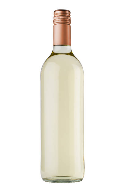 white wine bottle with copper screw cap on white background stock photo