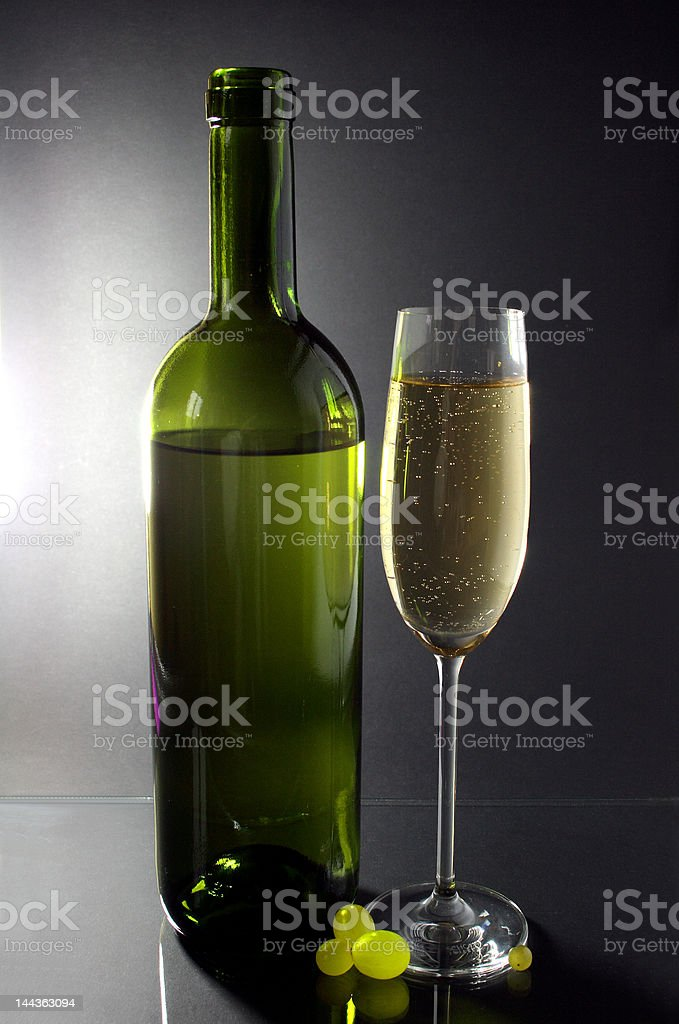white wine glass and bottle royalty-free stock photo