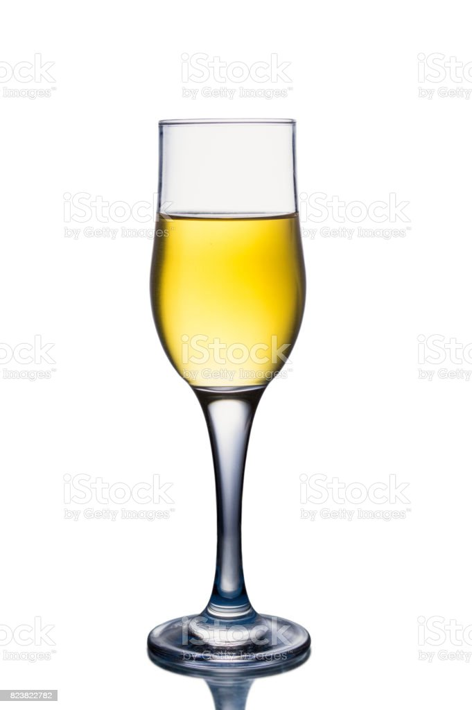 White wine glass isolated on white background stock photo