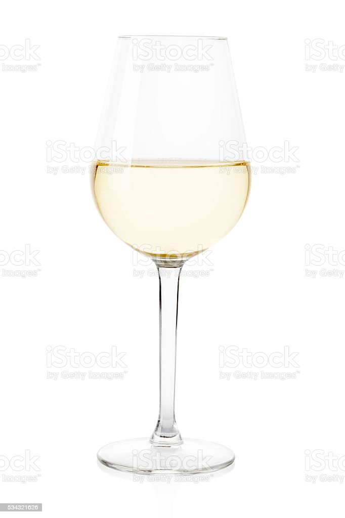 Bicchiere da vino bianco su bianco, tracciato di ritaglio - foto stock
