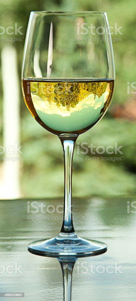 White Wine Glass with Mountains stock photo