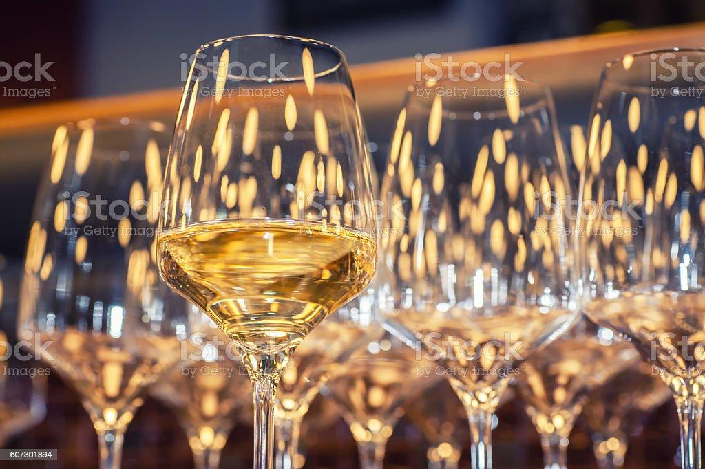 White wine glasses stock photo