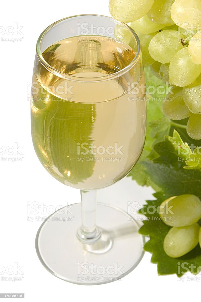 White wine & grapes stock photo