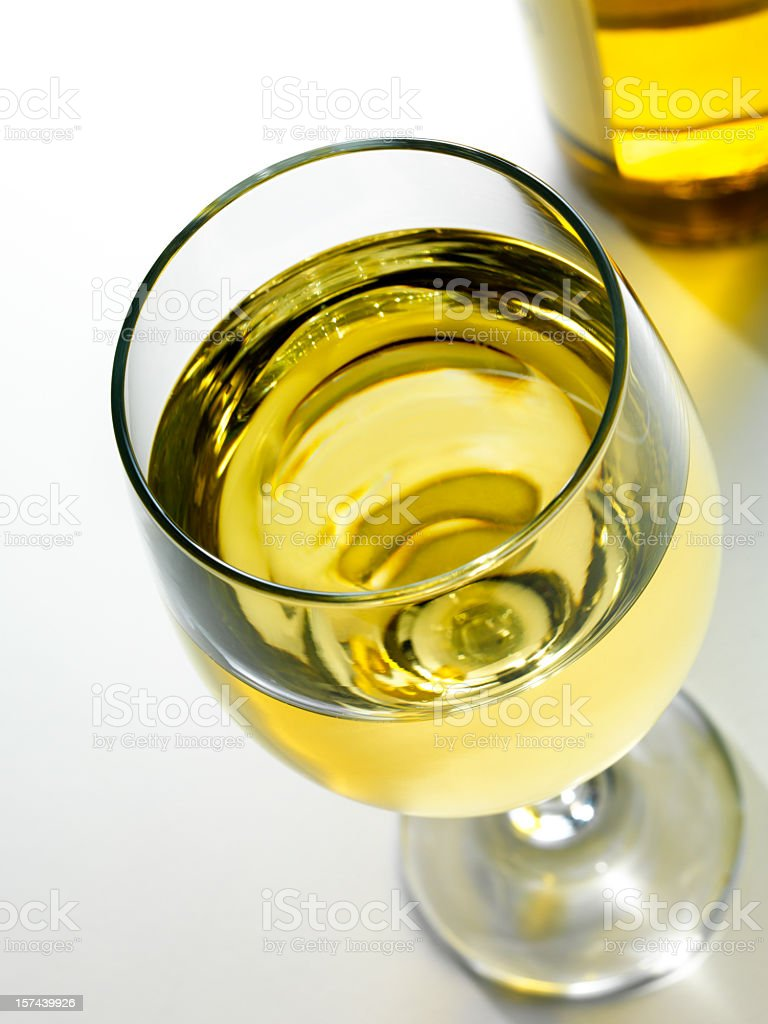White Wine in glass, high angle stock photo