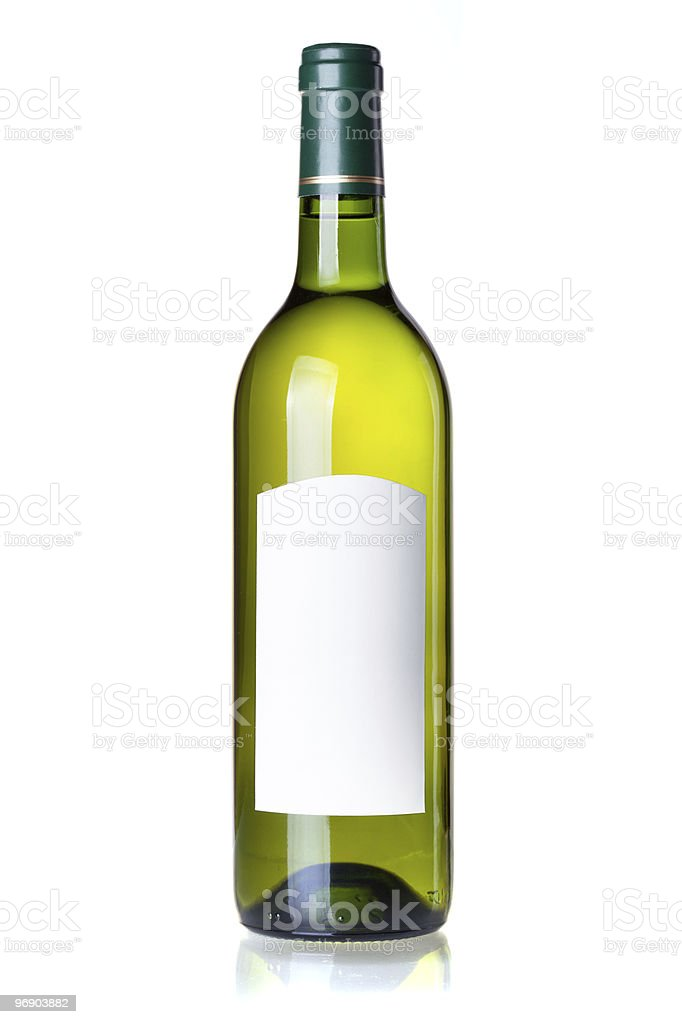 White wine in green bottle with blank label royalty-free stock photo