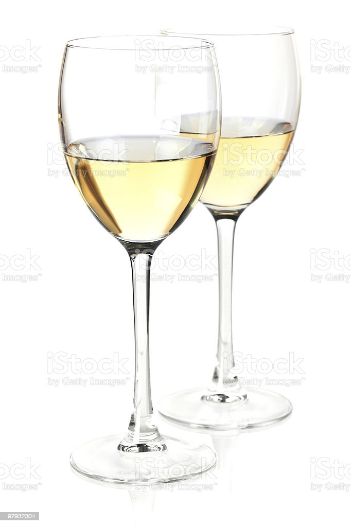 White wine in two glasses royalty-free stock photo