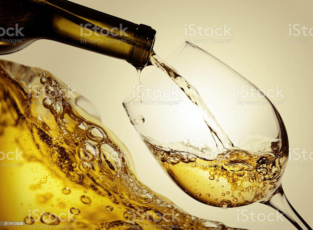 White wine isolated  on white background stock photo