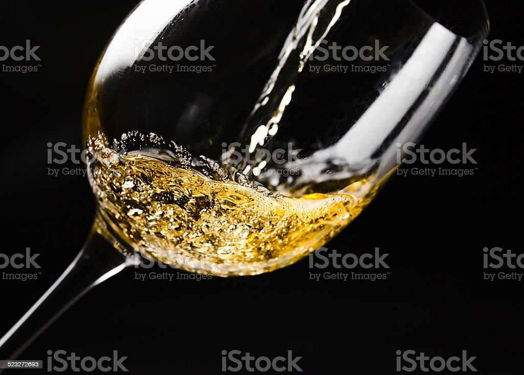 White wine  on black stock photo