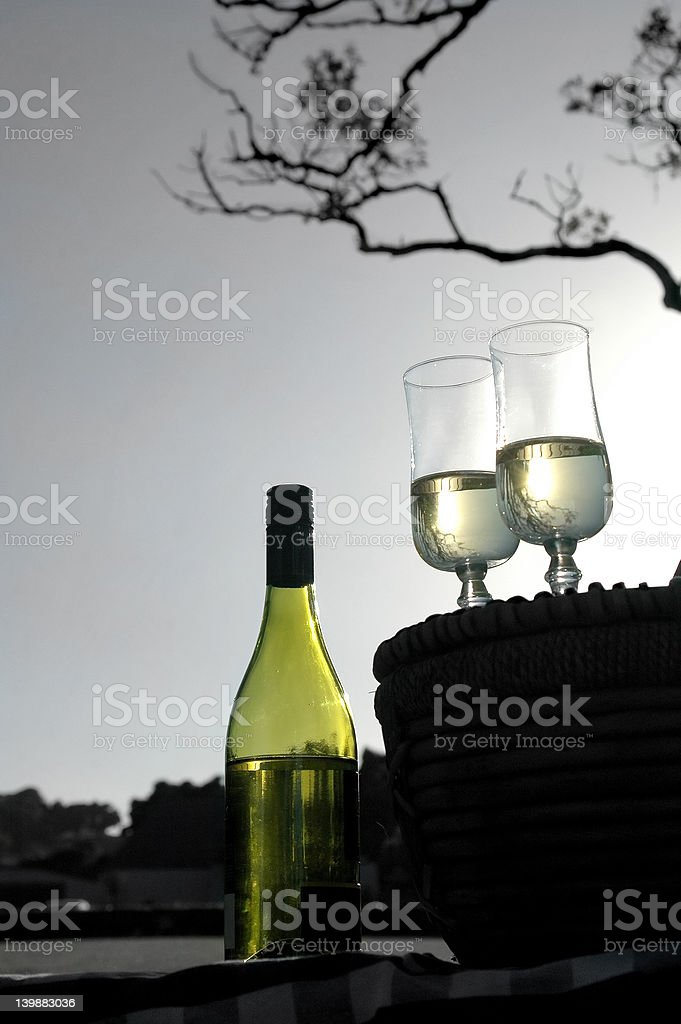 White Wine Picnic royalty-free stock photo