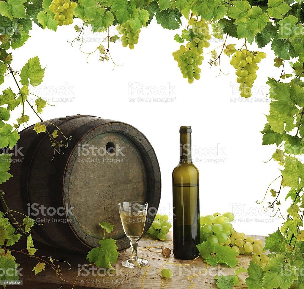 White wine still life with fresh grapevine border royalty-free stock photo