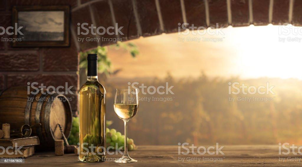 White wine tasting in the cellar stock photo