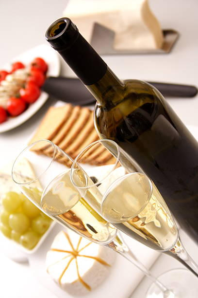 White wine with appetiser stock photo