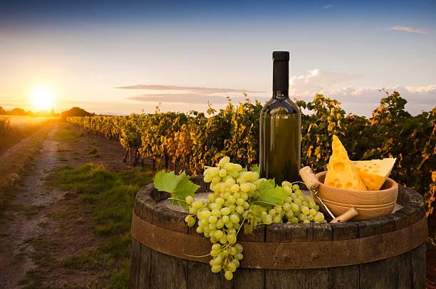 Weißer Wein mit einem Holzfass auf die Weinberge in Chianti, Toskana, Italien – Foto