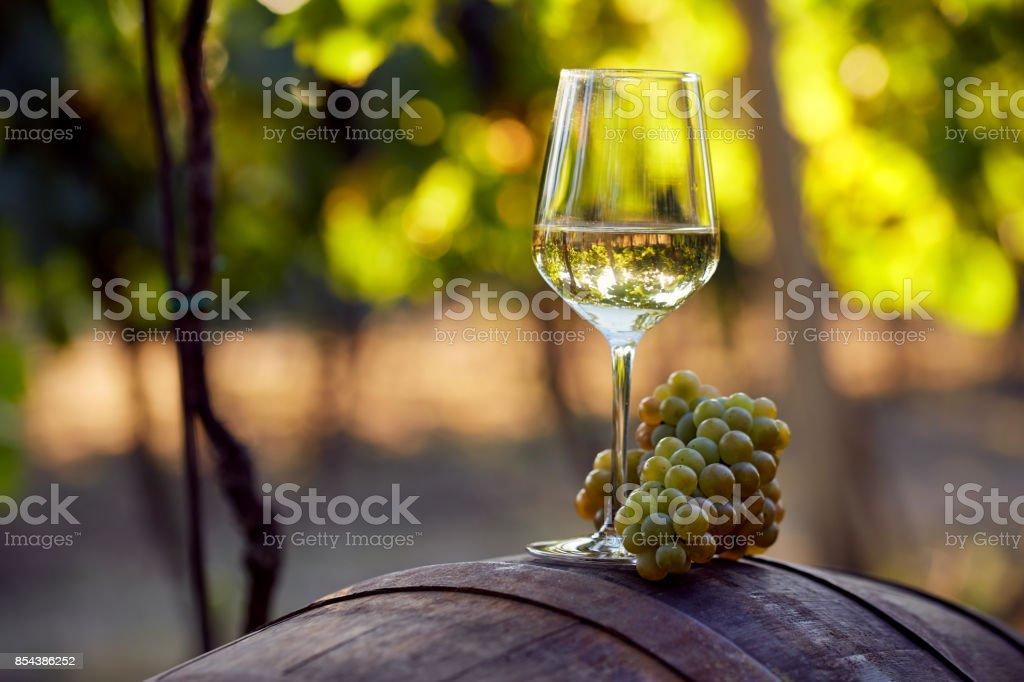 Weißwein mit Trauben auf einem Fass – Foto