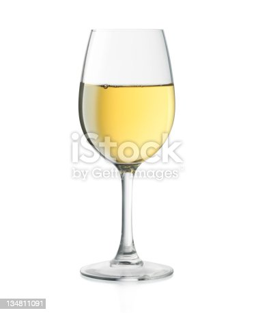 A glass of white wine isolated on white background