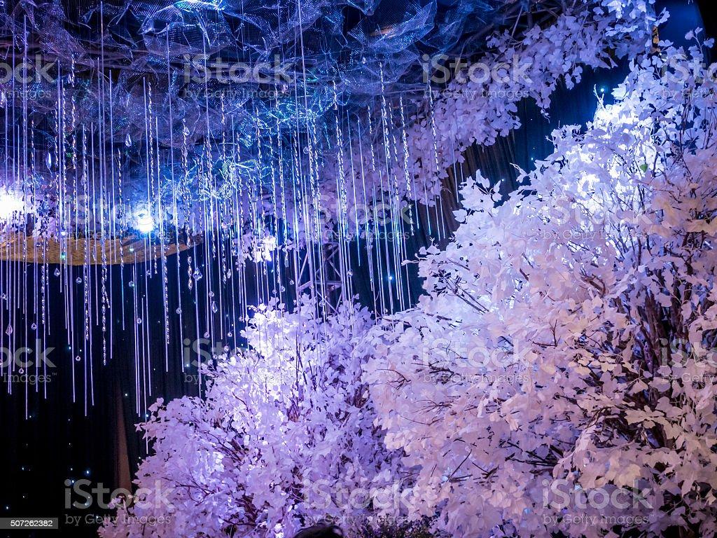 Inverno preta Decoração de casamento no salão de festas foto royalty-free