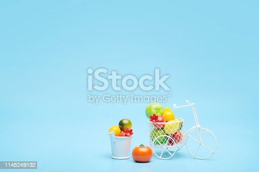 White wire bicycle with a basket filled with mini fruit. Near the bucket with vegetables and fruits. Blue background. Concept of harvesting and delivering fruits and vegetables, market.