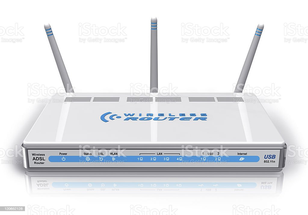 White wireless ADSL router royalty-free stock photo