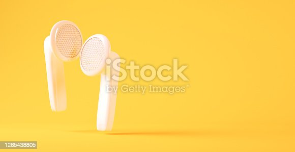White wireless earphones background 3d rendering