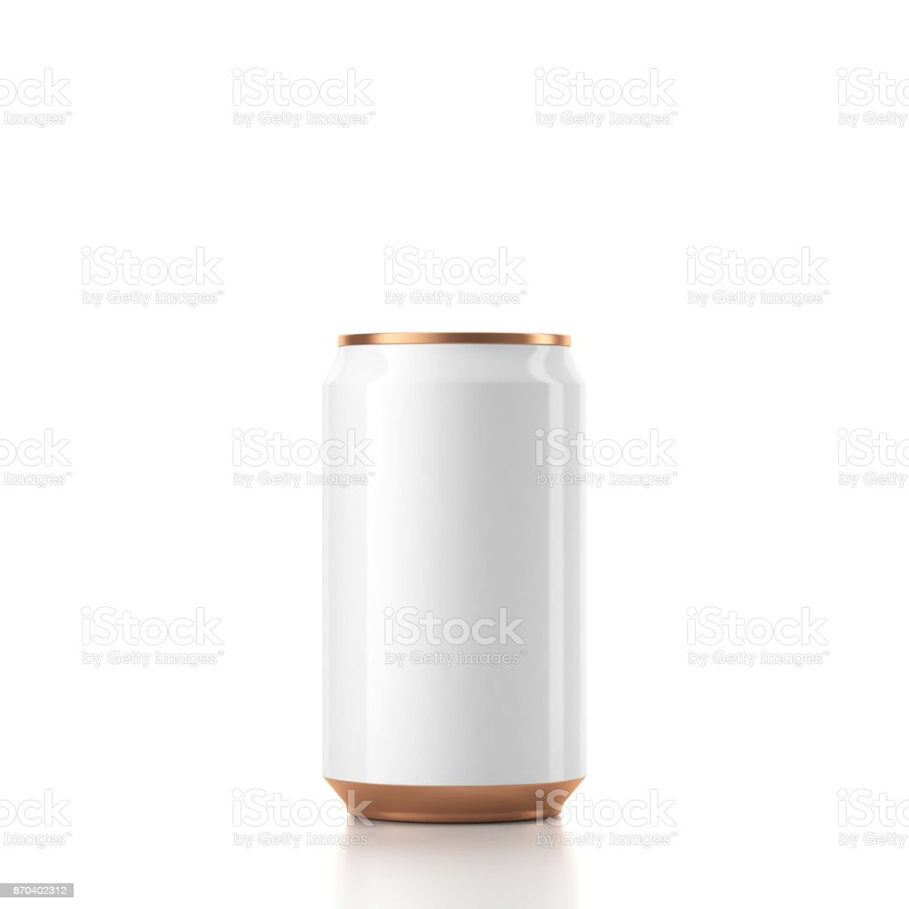 White with Gold Can Mockup stock photo