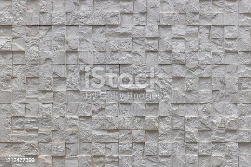 White with square cells multilevel decorative facing brick, texture, background