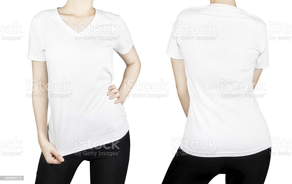 White woman T-shirt with front and back isolated on white. stock photo
