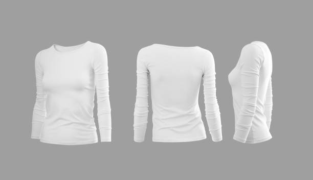 White woman's tee shirt with long sleeves in rear and side views White woman's tee shirt with long sleeves in rear and side views long sleeved stock pictures, royalty-free photos & images
