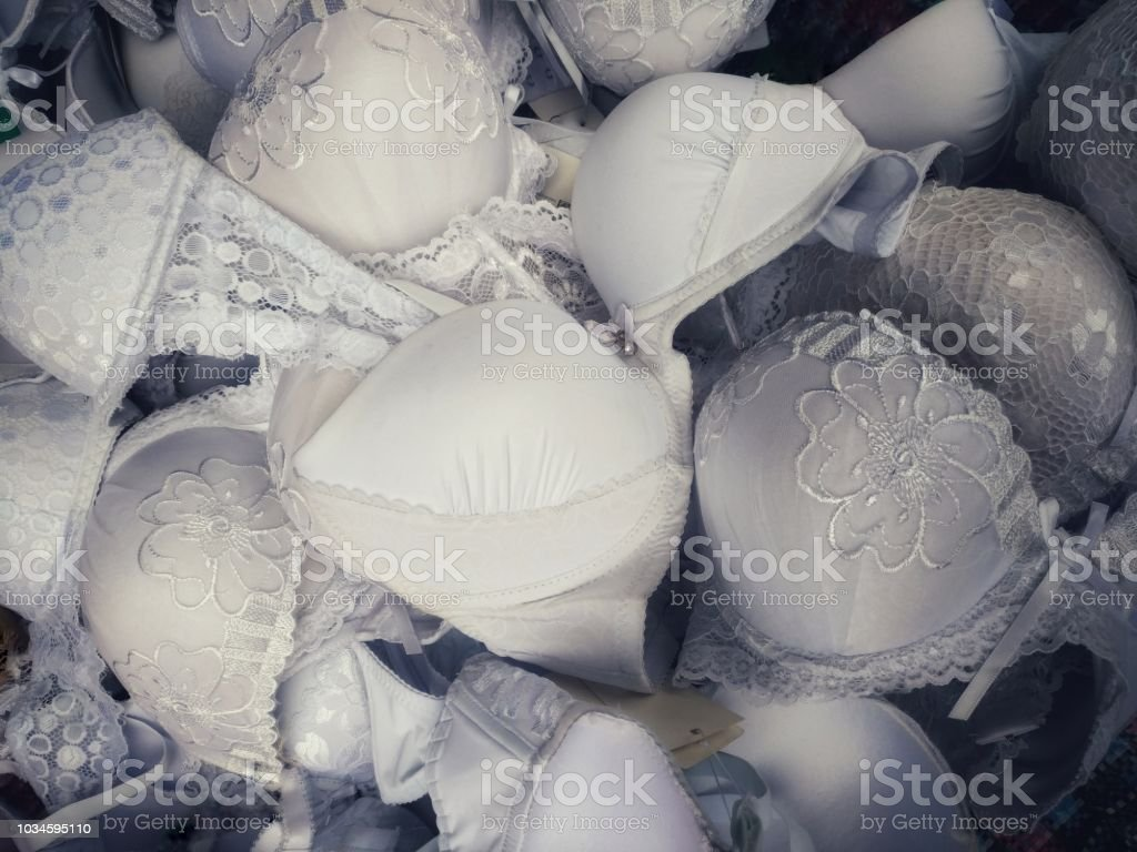 White Womens Bras On Sale On The Layout Stock Photo More Pictures