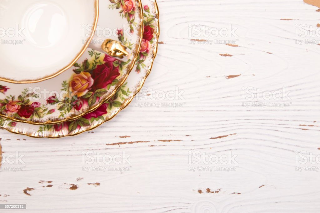 White Wood Background with a Tea Cup stock photo