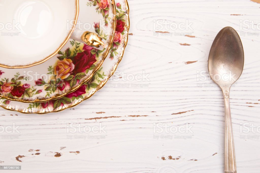 White Wood Background with Spoon and Tea Cup stock photo