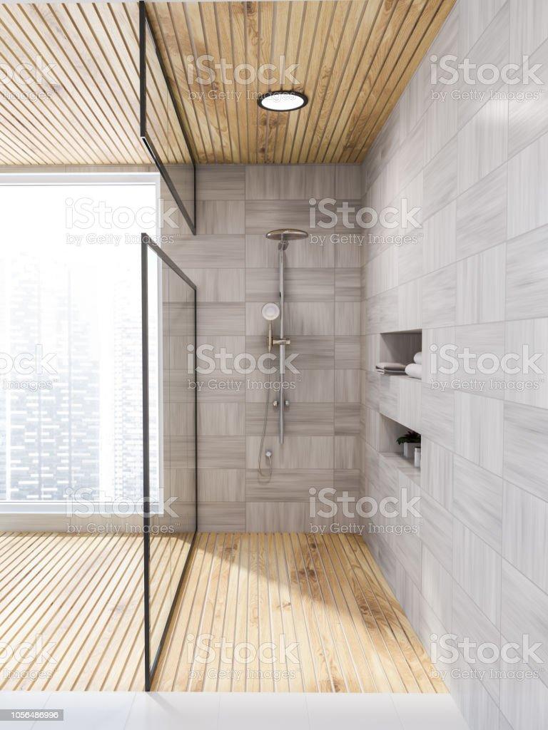 Weisse Holz Bad Tur Dusche Aus Glas Stockfoto Und Mehr Bilder