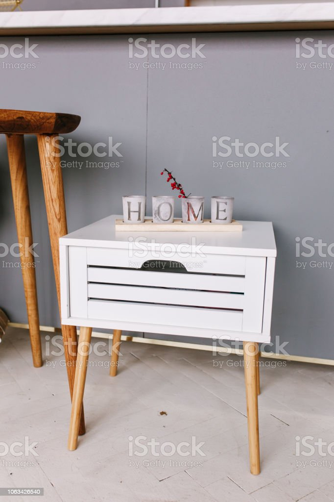 Picture of: White Wood Bedside Table Modern Designer Nightstand With Letters Cubes Home Stock Photo Download Image Now Istock