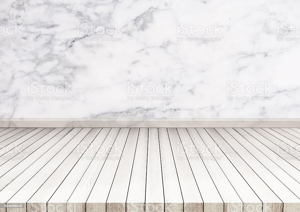 White Wood Floor With Marble Stone Wall Texture. Texture Background  Royalty Free Stock Photo