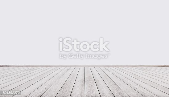 istock White wood floor with white wall, interior empty space 691392272