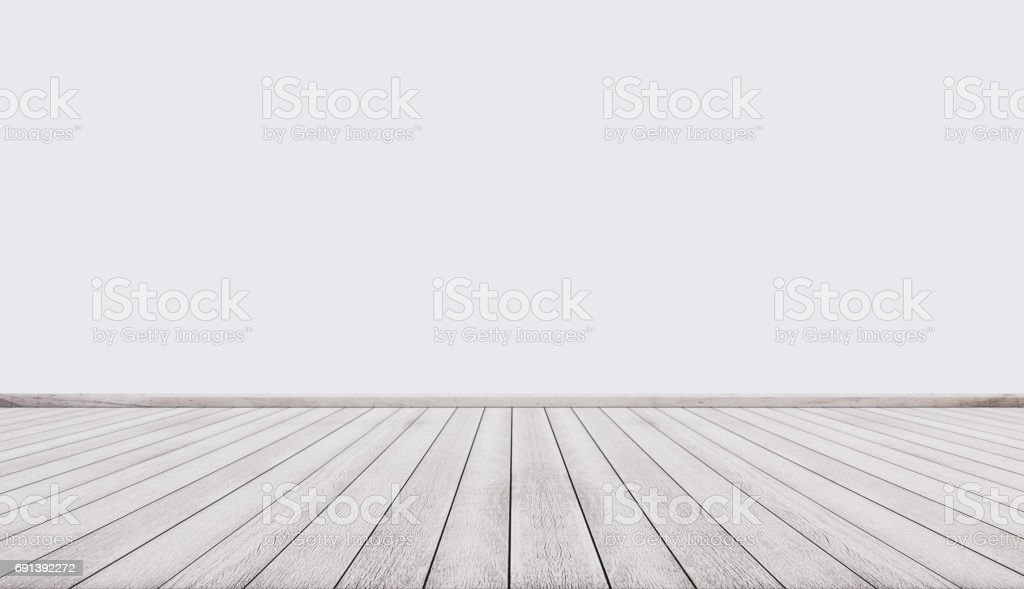 White wood floor with white wall, interior empty space stock photo