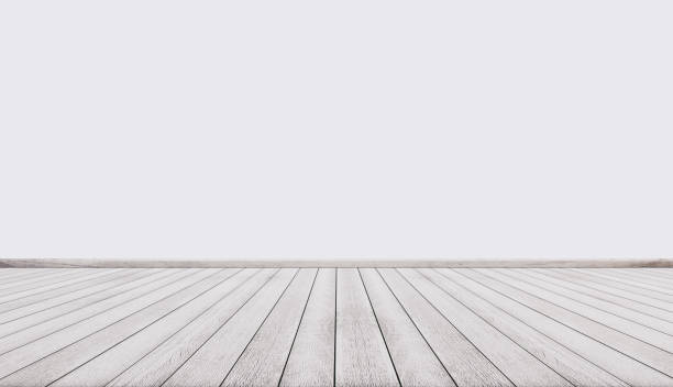 white wood floor with white wall, interior empty space - diminishing perspective stock photos and pictures