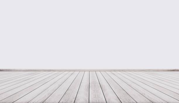 weißen holzboden mit weißen wand, leeren innenraum - fluchtpunktperspektive stock-fotos und bilder