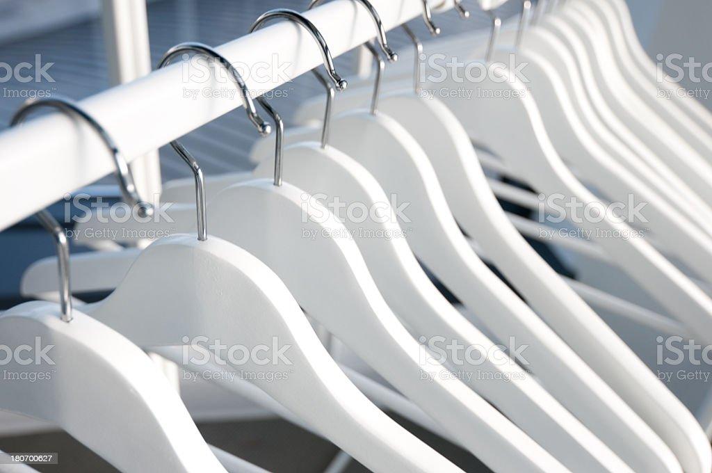 White Wood Hangars royalty-free stock photo