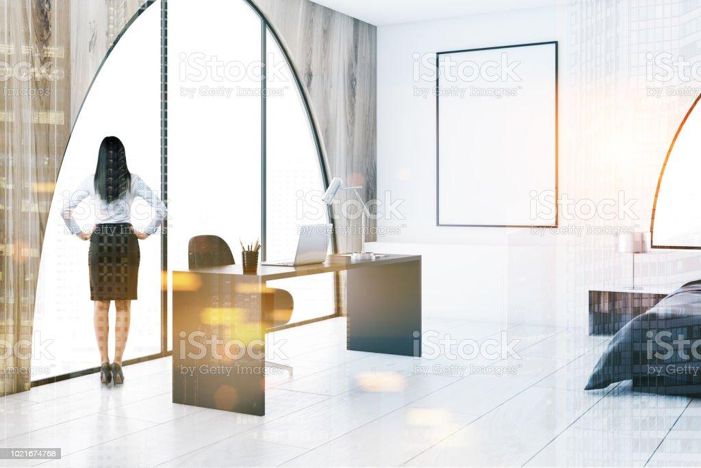 Photo de stock de chambre à coucher blanc bois bureau à domicile