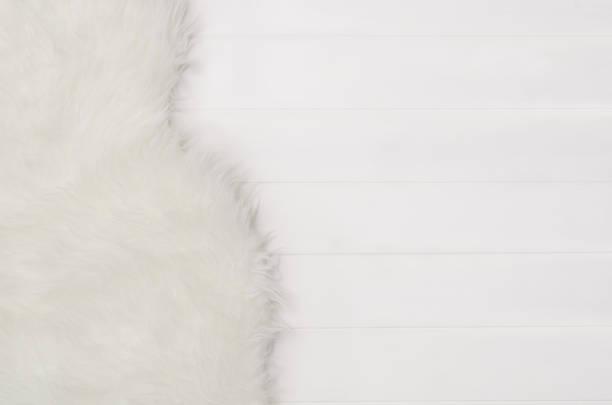 白色木板紋理和毛皮圖案背景頂部視圖 - 動物毛髮 個照片及圖片檔