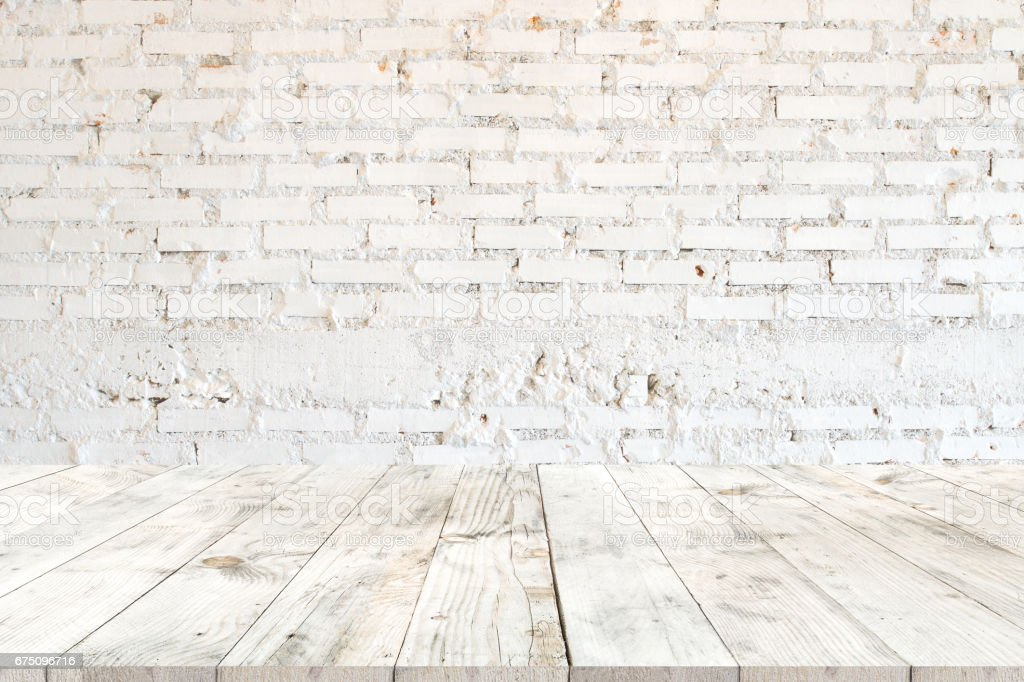 white wood table for product stock photo
