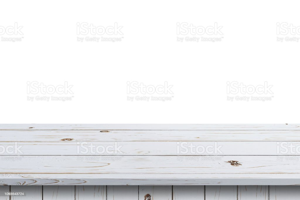 Picture of: White Wood Table Paint On Isolate White Background Stock Photo Download Image Now Istock