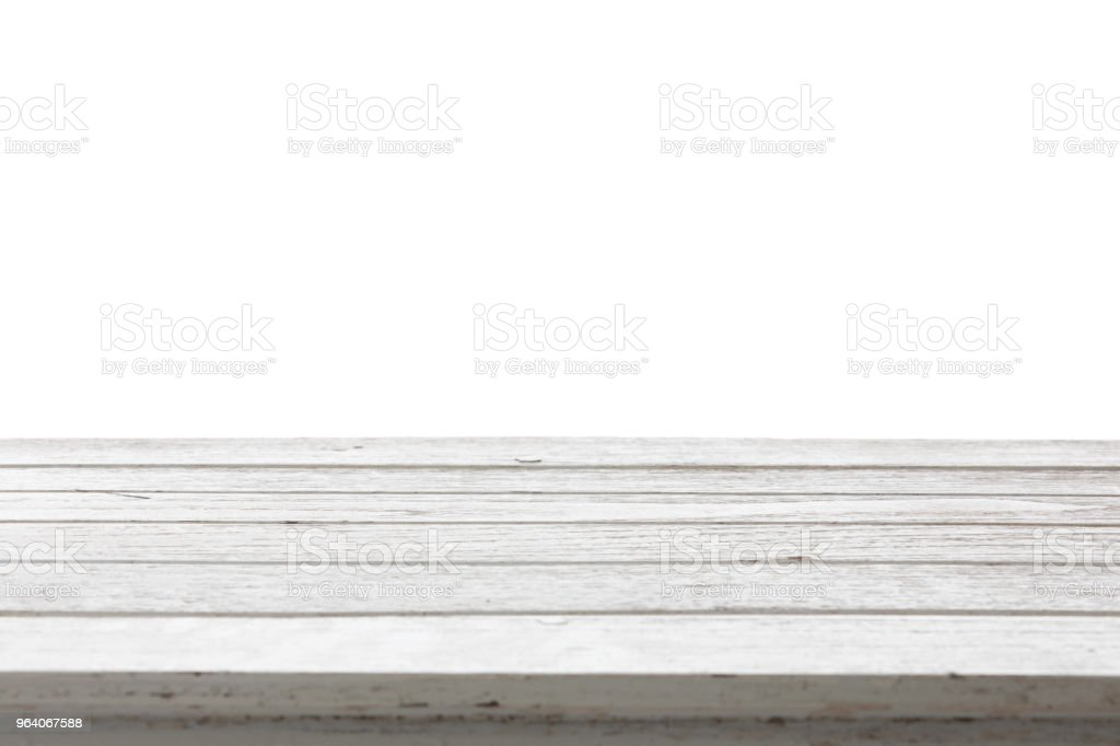 White wood table top on white background - Royalty-free Blank Stock Photo