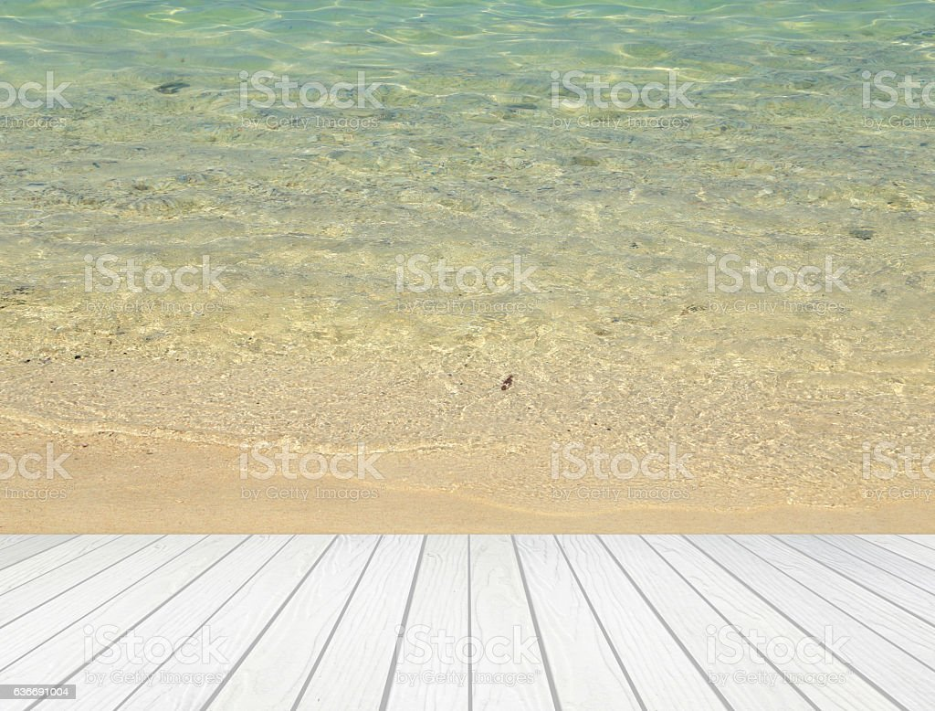 High Quality White Wood Terrace With Beach Royalty Free Stock Photo