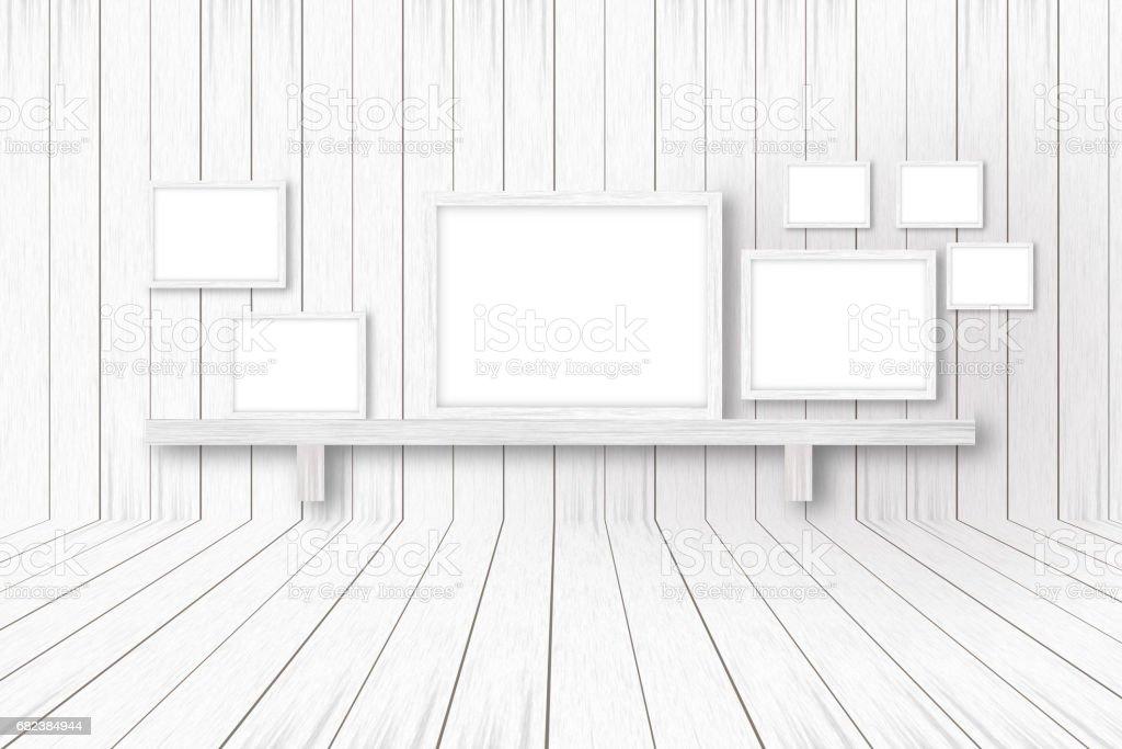 white wooden background with white frames, interior decoration,3D illustration zbiór zdjęć royalty-free
