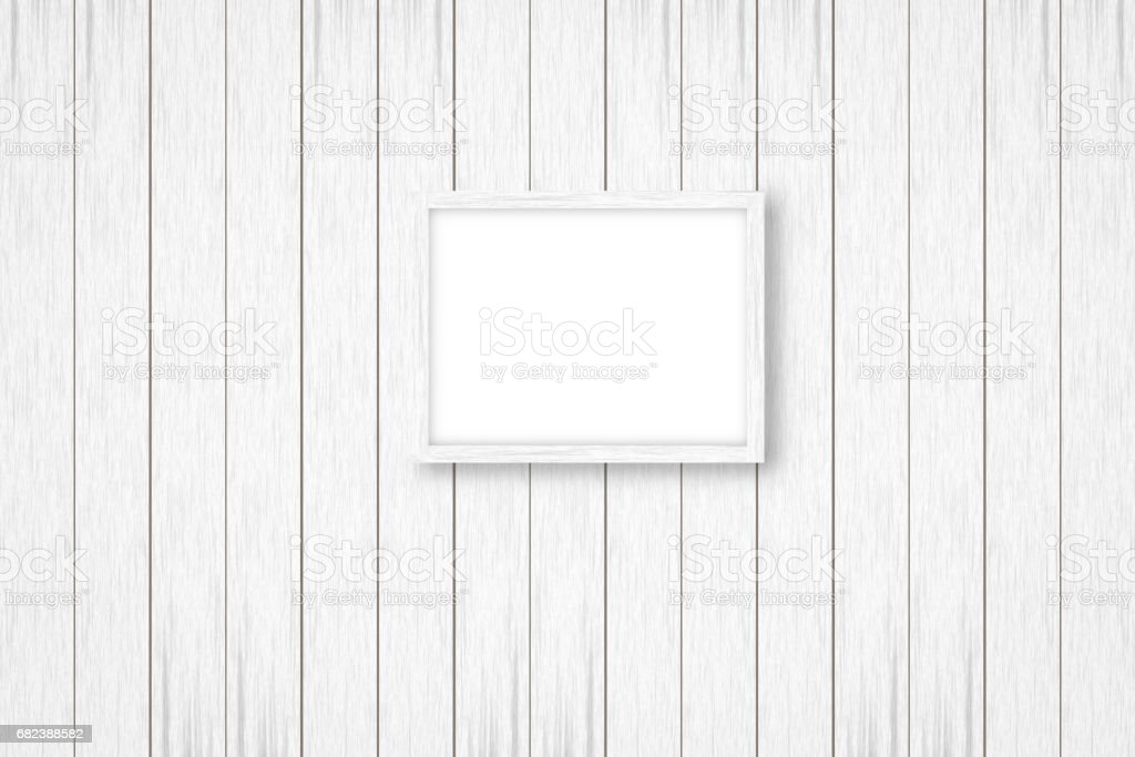 white wooden background with white frames, interior decoration,3D illustration royalty-free stock photo