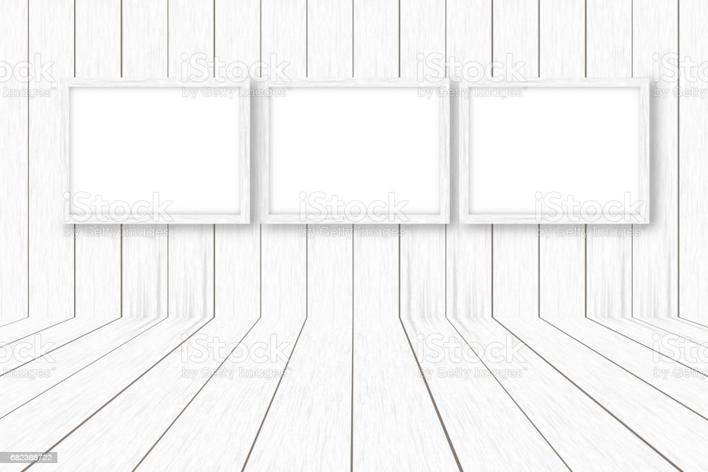 white wooden background with white frames, interior decoration,3D illustration foto stock royalty-free