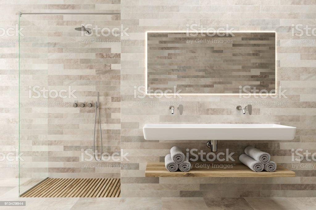 Weisse Holz Bad Waschbecken Dusche Stockfoto Und Mehr Bilder Von Architektur